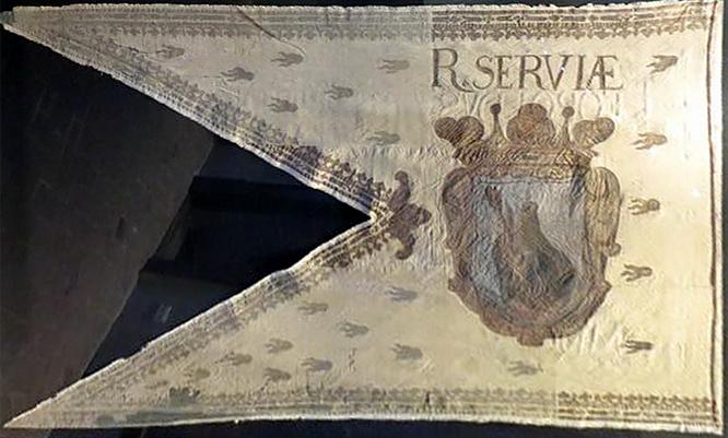 Szerb országzászló I. Lipót 1655. évi koronázásán használták