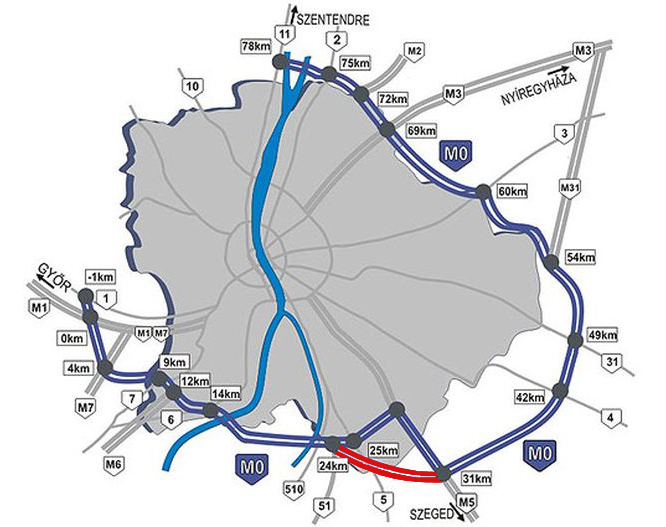 m0 budapest térkép Átadták az M0 s új szakaszát m0 budapest térkép