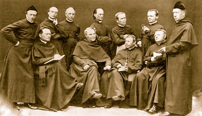 Mendel (jobbról a második álló alak) és szerzetestársai 1862 körül