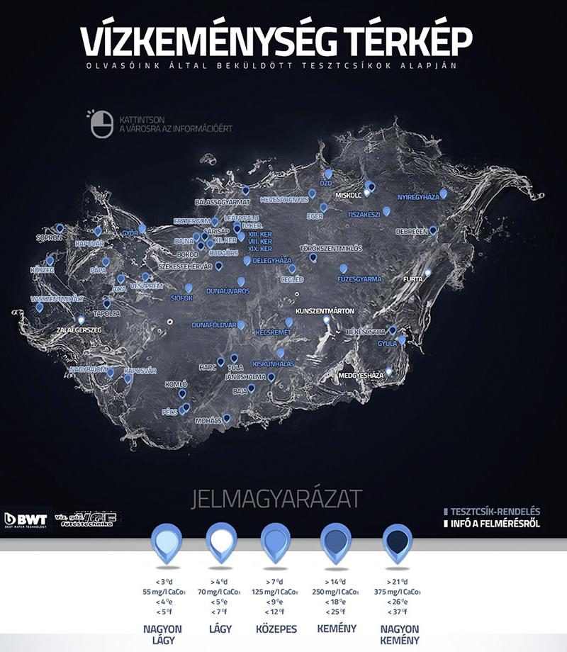magyarország vízkeménység térkép Önnél milyen kemény a víz? magyarország vízkeménység térkép