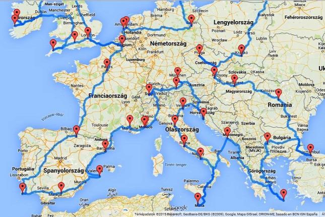 európa útvonal térkép Kiszámították a legjobb autós kirándulás útvonalát Európában európa útvonal térkép