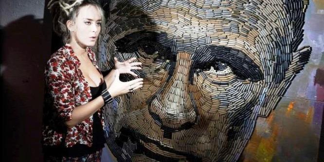 Töltényhüvelyb�l rakta ki Putyin arcát